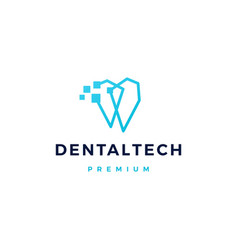 Dental pixel tech logo icon vector