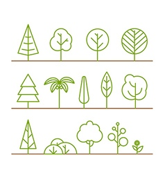 Different trees collection isolated on white vector
