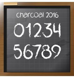 Digital charcoal hand drawn numbers vector