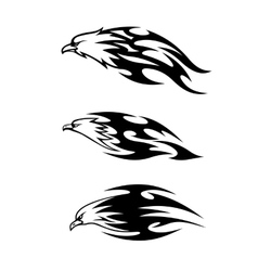 Eagle tattoos with flames vector