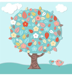 Fantastic Tree And Birds vector