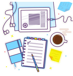 flat lay with tablet notebook headphones and vector image