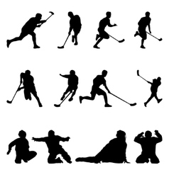 Floorball silhouette on the white background vector