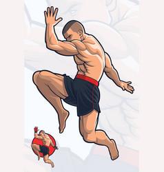 Flying knee kick kick boxing vector