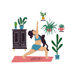 Girl doing warrior i yoga pose with cat vector