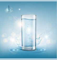 glass with clear water vector image