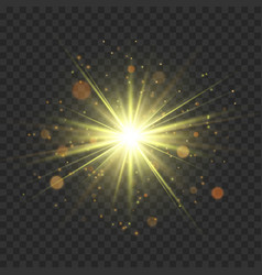 Gold glitter star burst with sparkles vector