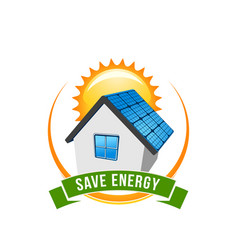 green energy save solar house icon vector image