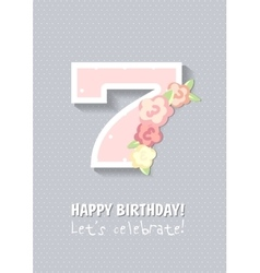 happy birthday for girl 7 years vector image