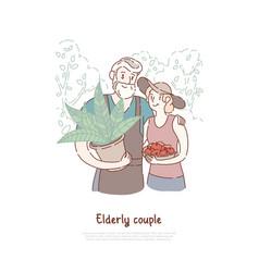 happy old people gardeners pair planting fruits vector image