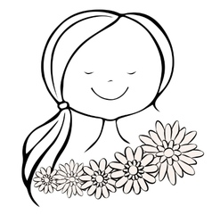Head pleased girl with closed eyes and flowers vector