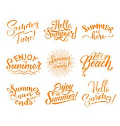 Hello summer lettering for season holidays design vector