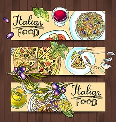Horizontal banners italian food - pizza pasta vector