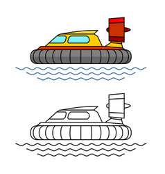 Hovercraft boat side view hover vector
