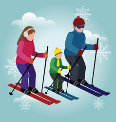 Isometric isolated happy family skiing cross vector