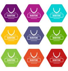 Jewelry bijouterie icons set 9 vector