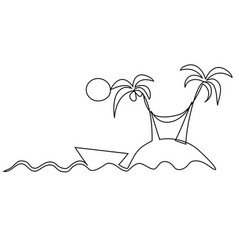 lonely island one line drawing vector image