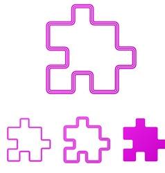 Magenta line puzzle logo design set vector