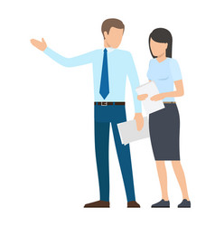 man and woman with documents vector image