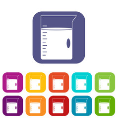 Measuring cup icons set flat vector
