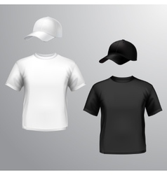 Mens t-shirt baseball cap vector image