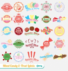 Mixed candy labels and icons vector
