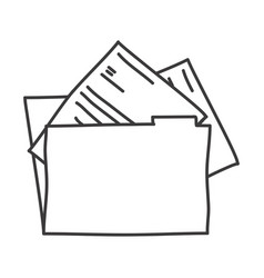 Monochrome contour of folder with documents vector
