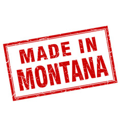 Montana red square grunge made in stamp vector