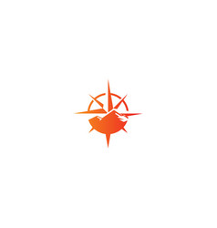 mountain star direction adventure logo vector image