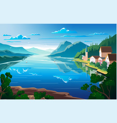 nature landscape mountains and river view point vector image