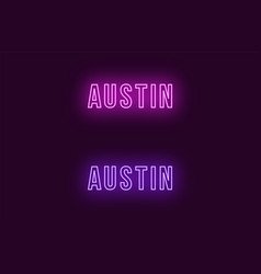 Neon name of austin city in usa text vector