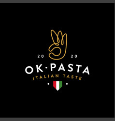 okay pasta logo icon template with ok noodle hand vector image