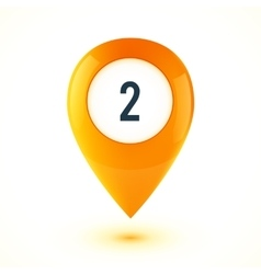 Orange realistic 3d glossy map point symbol vector