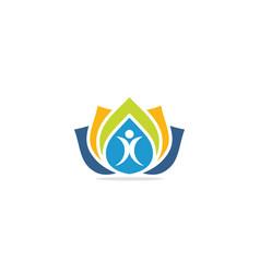 people lotus flower colorful logo vector image