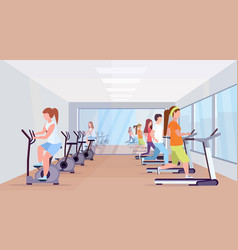 People running treadmill and riding stationary vector