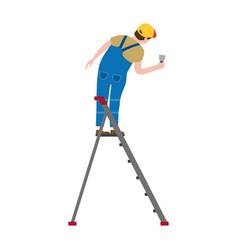 Professional working man on a stepladder applies vector
