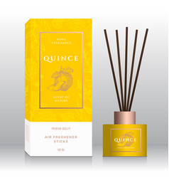 Quince home fragrance sticks abstract label vector