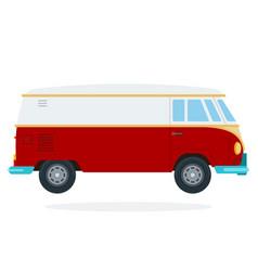 Retro van flat isolated vector
