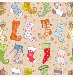 seamless background with christmas gift socks on vector image
