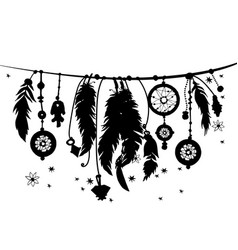 seamless border with silhouettes of feathers vector image