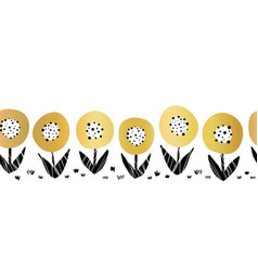 seamless gold foil flowers border cute vector image
