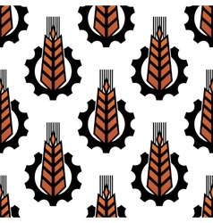 Seamless pattern of wheat with gear wheels vector
