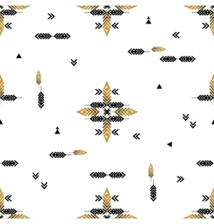 Seamless pattern with gold feathers vector image