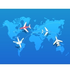 Set airplanes flying over world map vector
