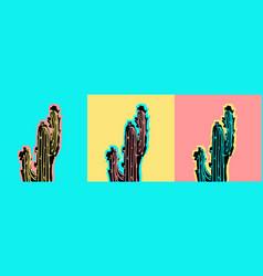 Set of pop art cactus pictures vector
