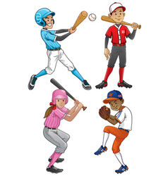 Set of young baseball player vector