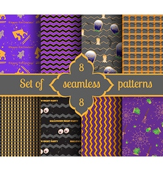 Set seamless halloween backgrounds and geometric vector image