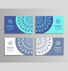 Sets of mandala business cards vector