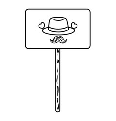 sign with hat and moustache black and white vector image