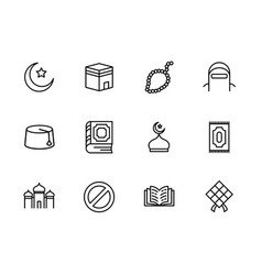 Simple set symbols islam religion contains such vector